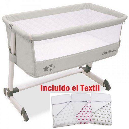 Minicuna Colecho Asalvo 0M Gris+Edredón y Textil