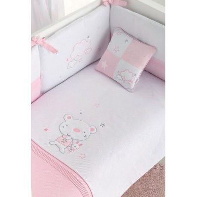 Edredón protector y cojín osito star Pirulos blanco y rosa