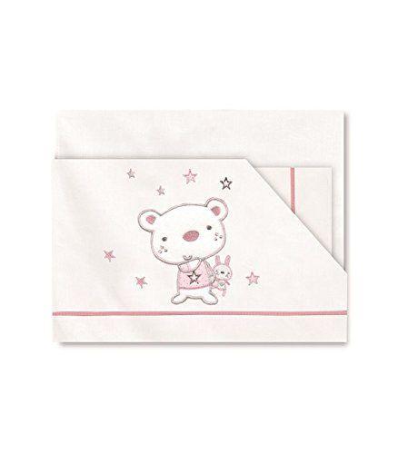 Sábanas Pirulos diseño osito star Minicuna 50-80 cm rosa