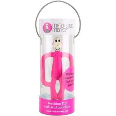 Mordedor Matchstick Monkey rosa para bebés