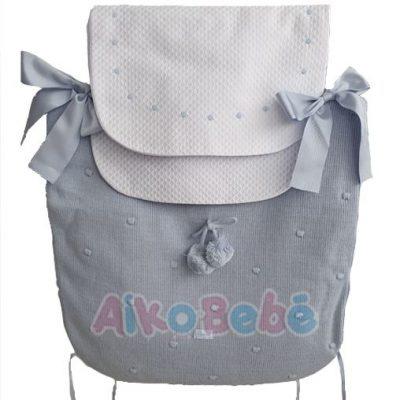 Colcha para capazo invierno Bebé de Uzturre Pompones Azul