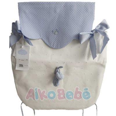Colcha para capazo Bebe de Uzturre Lacito Azul Pompones
