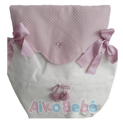 Colcha para capazo Bebe de Uzturre Lacito Rosa Pompones